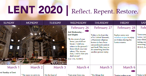 Lenten Calendar of Daily Inspirations